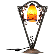 NOVERDY Large French Art Deco Table Lamp 1925