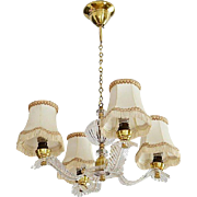 French Art Deco Style Lucite Chandelier, 1950s