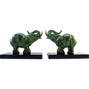 CARVIN French Art Deco Elephant Bookends 1930