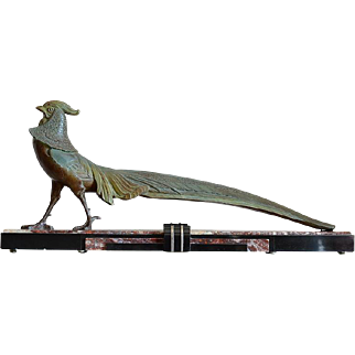 LIMOUSIN Awesome Large French Art Deco Pheasant sculpture 1930