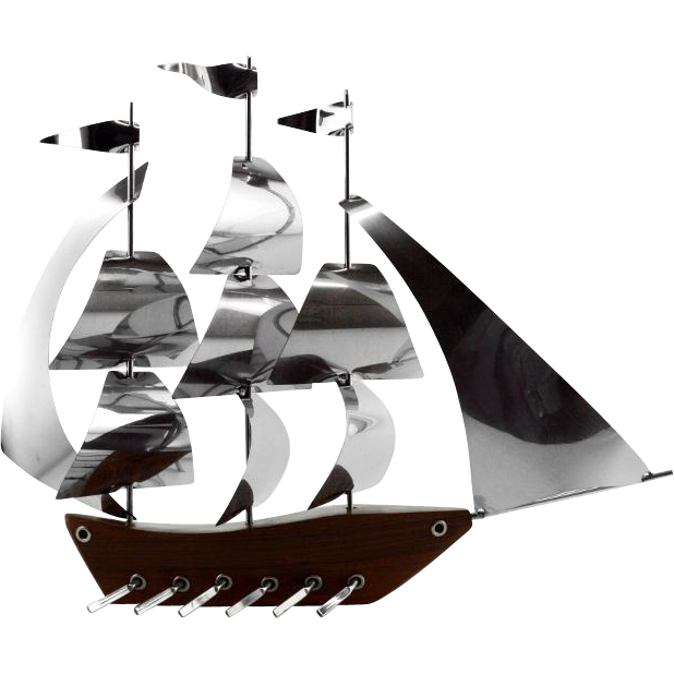 Art Deco Ship: French Art Deco Large Galley Ship By ART BOIS 1930s From