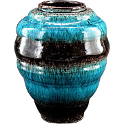ACCOLAY French Glossy Ceramic Vase early 1960s