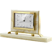 French Art Deco Marble & Brass 8 Days Clock by BAYARD 1930