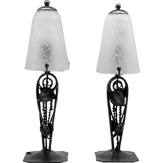 Charles Schneider French Art Deco Pair of Table Lamps 1920s