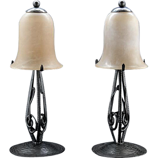 French Art Deco Pair of Alabaster Table Lamps 1930