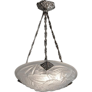 DEGUE French Art Deco Chandelier Late 1920s