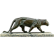 LEDUCQ French Art Deco Spelter Panther 1930