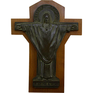 French Art Deco Bronze Crucifix by Jeanne Ferrer 1930