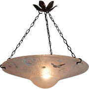 DEGUE Large French Art Deco Pink Pendant Chandelier 1930