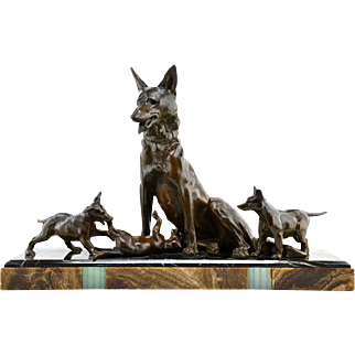 Large Art Deco Sculpture Shepherd Dog with Playful Puppies by Plagnet 1930s