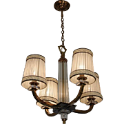 Jacques ADNET French Art Deco Chandelier 1940s