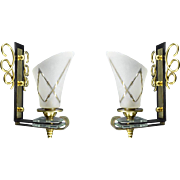 French Vintage Pair of Wall Sconces 1940s