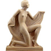 Genevieve GRANGER French Art Deco Terracotta Lady Sculpture 1925