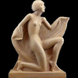 Genevieve GRANGER French Art Deco Terracotta Lady Sculpture 1925