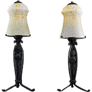 SCHNEIDER French Art Deco Pair of Table Lamps 1925
