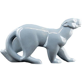 Geo CONDE French Art Deco Ceramic Panther Saint-Clement 1931