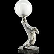 Louis-Albert CARVIN French Art Deco Sea-Lion Lamp Sculpture 1930
