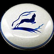 French Art Deco Ceramic Antelope Candy Box 1930
