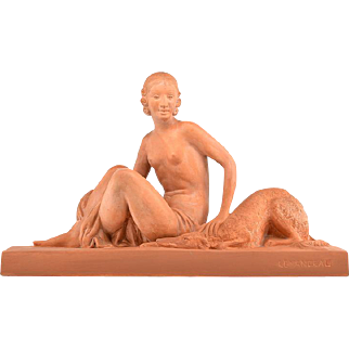Charles LEMANCEAU French Art Deco Young Woman and Borzoi Terracotta 1925