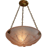 MULLER FRERES French Art Deco Pink Butterfly Pendant Chandelier 1925