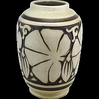 "Joseph Mougin and Georges Conde Art Deco Stoneware Vase ""Les Figues"" 1925"
