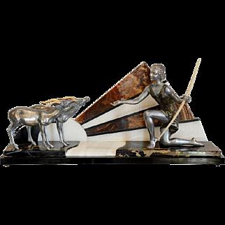 Henri Molins-Balleste French Art Deco Huntress and Antelope Sculpture 1925