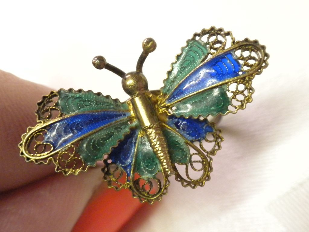 RARE Vintage Plique A Jour Enamel 800 Silver Butterfly RING from vanitys on R...