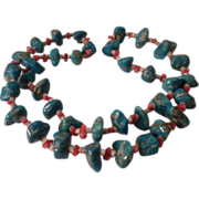 OLDER Vintage Blue Turquoise Nugget & Red Coral INDIAN Beaded NECKLACE