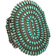 WIDEST 1960's Vintage SIGNED Zuni Indian Turquoise & Sterling Silver CUFF Bracelet