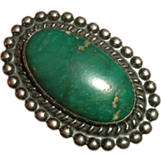 EARLY - Old Pawn Vintage GREEN Turquoise & Sterling Silver Indian RING