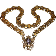 DREAM come true - Antique 14kt Gold Amethyst BOOK CHAIN Victorian Necklace