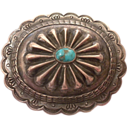 OLD PAWN - Vintage Indian Concho / Conch Sterling Silver & Turquoise PIN Brooch