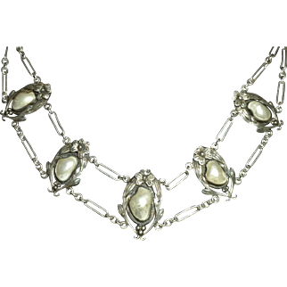 THE BEST 1900's Antique Arts & Crafts Blister Pearl & Sterling Silver Festoon NECKLACE