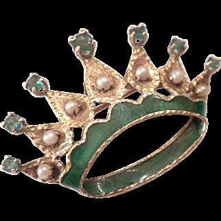 FABULOUS 1940's Vintage 14kt GOLD Green Enamel Emeralds & Pearls CROWN Pin Pendant