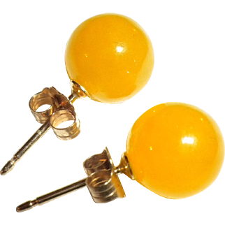 SUPER Vintage YELLOW Hardstone - Gemstone & 14kt Gold Stud Earrings