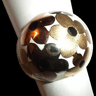 DESIGNER - Estate 14kt TRI Colored Gold & ENAMEL Flower Blossom BOMBE Dome Ring