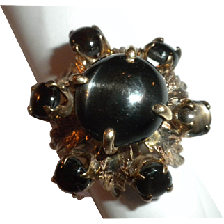THE BEST 1940's Vintage Black STAR Sapphire 14kt Gold Princess / Cocktail THRONE Ring