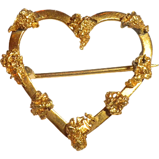 VERY RARE Early Antique GOLD RUSH Natural Gold Nugget & 18kt Heart PIN Brooch