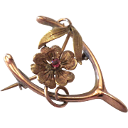 Antique ART NOUVEAU - 1910 - Edwardian Mixed Gold & Ruby WISHBONE & Flower Pin Brooch