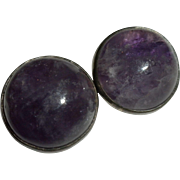 EARLY Vintage William Spratling Mexican Sterling Silver & AMETHYST Cabochon EARRINGS