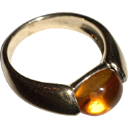 SUPER Vintage 18kt White Gold & Cabochon Citrine Gemstone RING + Size 7 1/4