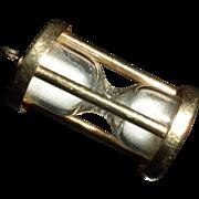 VINTAGE 1940's - 14kt Gold Miniature HOURGLASS Bracelet Charm - Works!