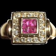 ESTATE / Vintage 14kt Gold RUBY & Diamond Cocktail Ring Sz 6