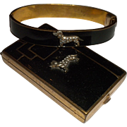 ART DECO 1920s Vintage Enamel & Brass DACHSHUND Dog Rhinestone Bracelet & Compact SET