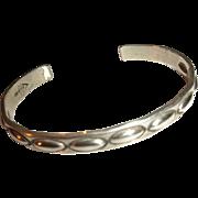 VINTAGE American Indian - NAVAJO Sterling Silver Stamped Cuff Bracelet - Signed!