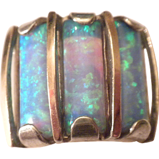 INCREDIBLE Vintage 14k Gold & Sterling Silver Gilson CREATED Opal Wide Band Ring
