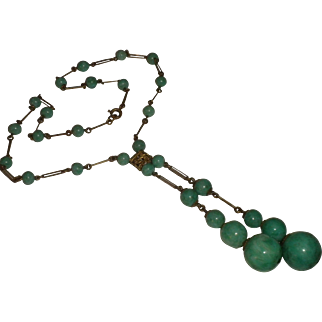 ART DECO 1920's Czech Glass Beaded Double Lariat Drop NECKLACE