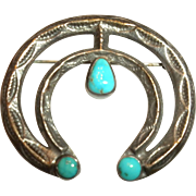 PRE 1940 Vintage Old Pawn Native American Indian Silver & Turquoise NAJA PIN Brooch