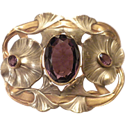 THE BEST Art Nouveau - 1910 - Antique Brass Ginko Leaf & Purple Glass SASH Pin Brooch