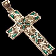 LOVELY Estate - Vintage 14kt Gold & Green Enamel CROSS Necklace Pendant